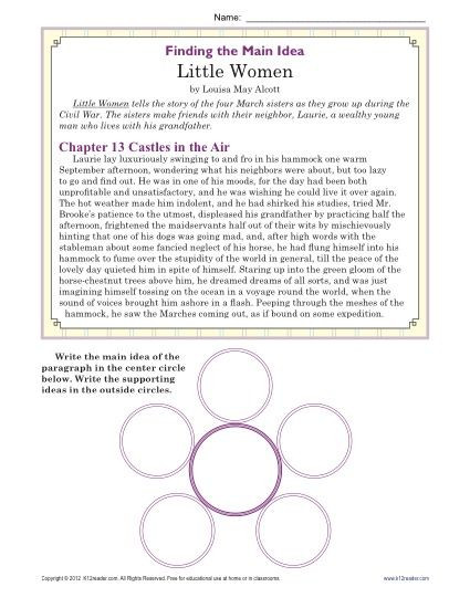 Main Idea Worksheets Middle School Middle School Main Idea Worksheet About the Book Little
