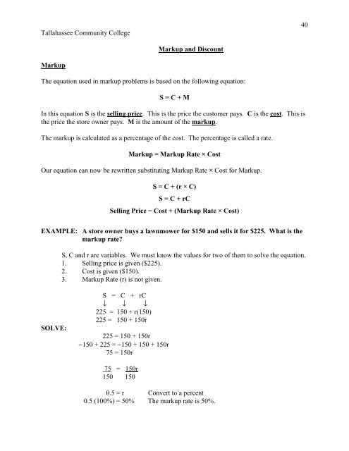 Markup and Discount Worksheet Markup and Discount Pdf Tallahassee Munity College