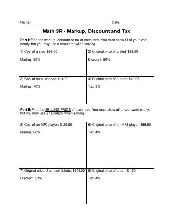 Markup and Discount Worksheet Markup Discount and Tax Notes