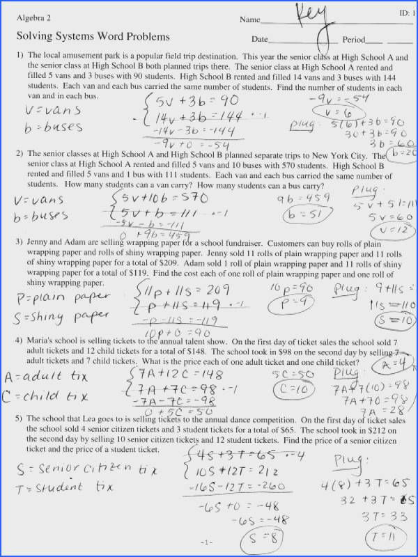 Matrices Word Problems Worksheet Linear Equation Word Problems Worksheet Gina Wilson