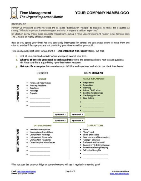 Matrices Word Problems Worksheet Urgent Important Matrix Template and Worksheet