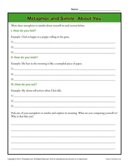 Metaphor Worksheet Middle School Metaphor and Simile About You