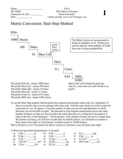 Metric Conversion Worksheet Answer Key Metric Conversion Stair Step Method