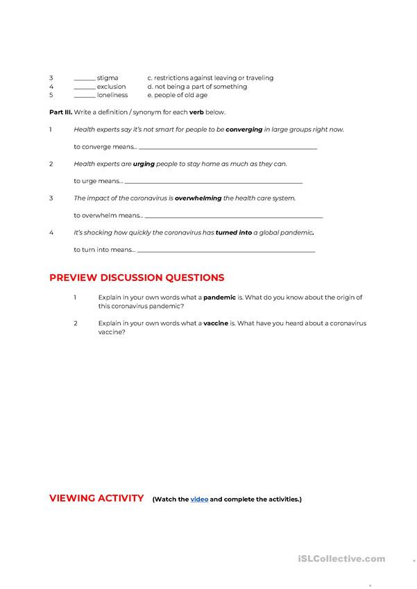 Middle School Health Worksheets Lesson Plan Impacts Of the Coronavirus Pandemic English