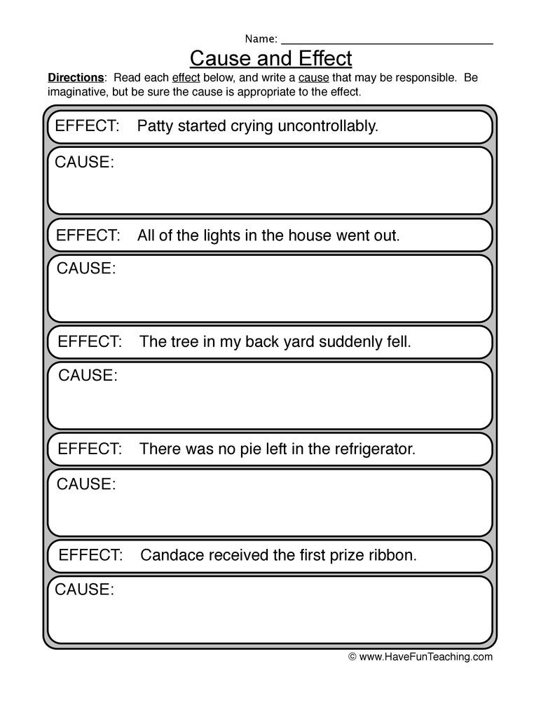 Middle School Health Worksheets Pdf Image Result for Cause and Effect First Grade Activities