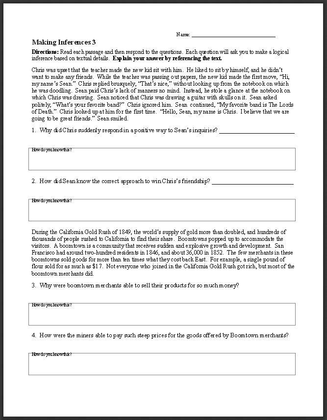 Middle School Inference Worksheets Ereadingworksheets Free Reading Worksheets