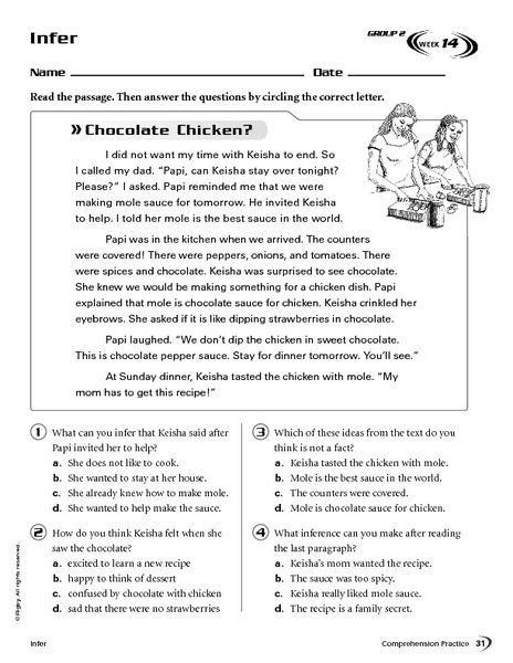 Middle School Inference Worksheets Infer Chocolate Chicken Worksheet for 4th 5th Grade