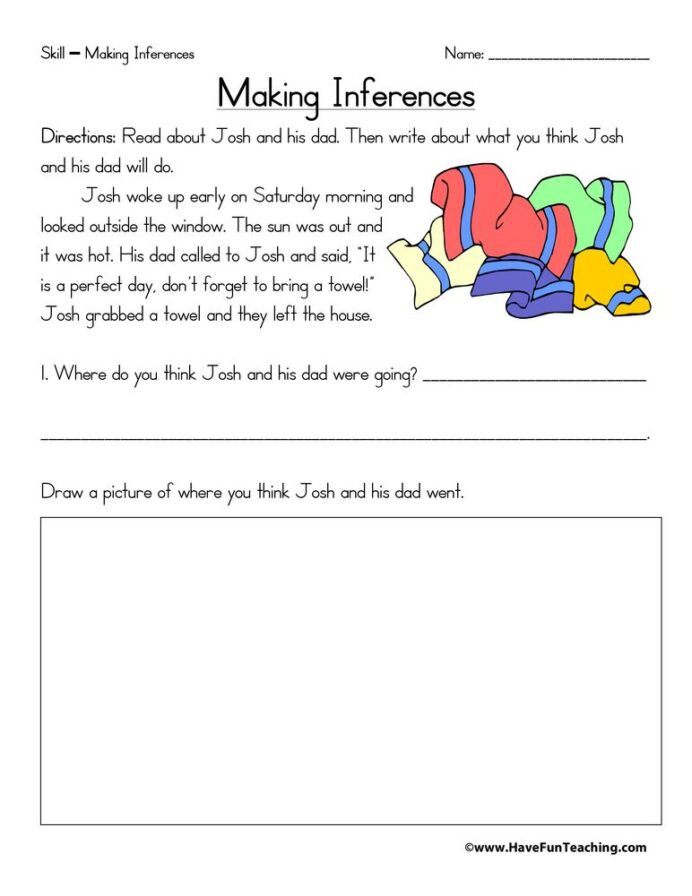 Middle School Inference Worksheets Inference Worksheets Worksheet Free Making Inferences 7th