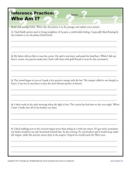 Middle School Inference Worksheets who Am I