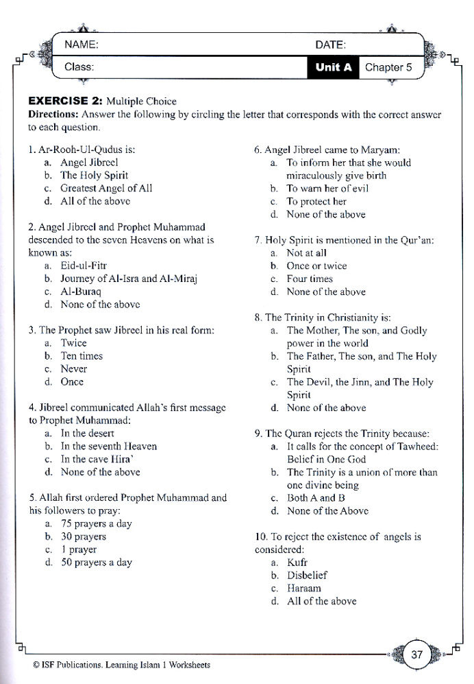 Middle School Life Skills Worksheets Learning islam Worksheets Level 6th Grade Moral Science for