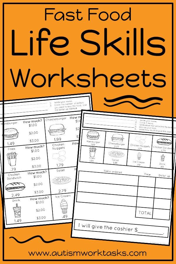 Middle School Life Skills Worksheets Life Skills Worksheets Fast Food Restaurants