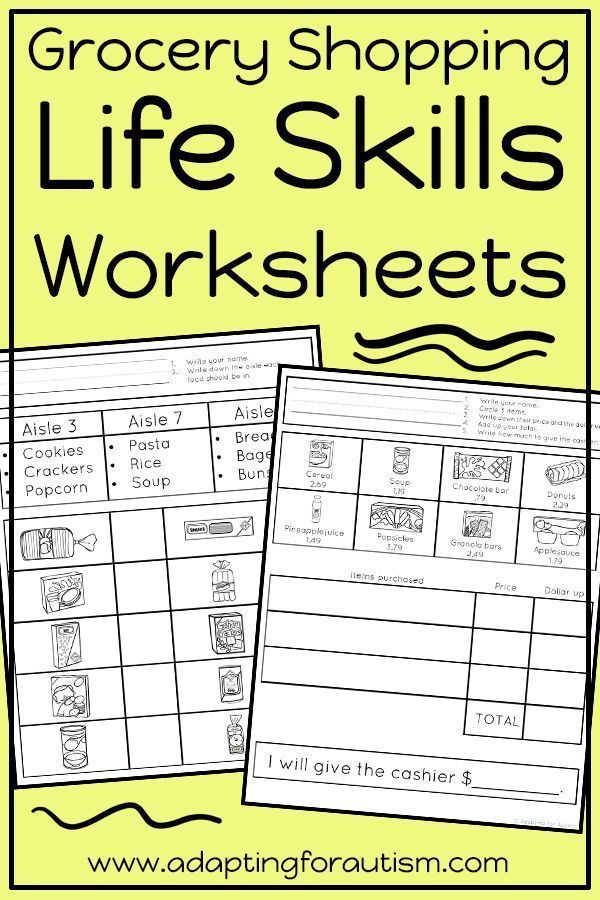 Middle School Life Skills Worksheets Life Skills Worksheets for Special Education and Autism