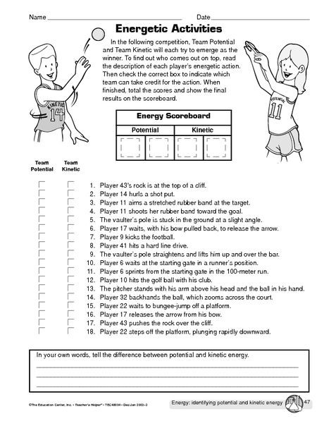 Middle School Science Worksheets Pdf Potential Vs Kinetic Energy