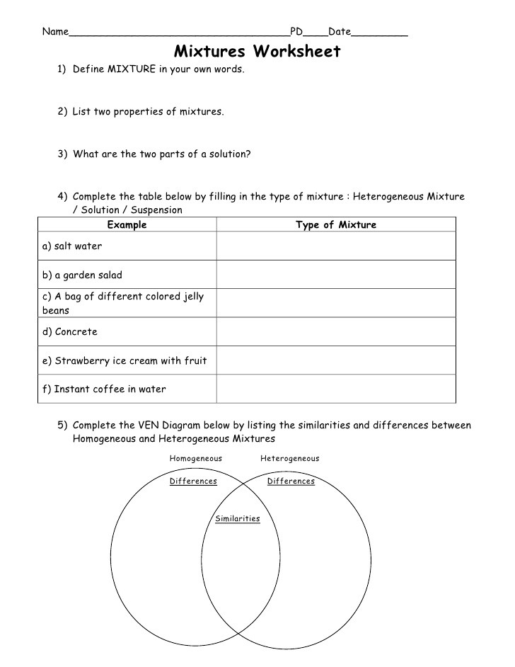 Mixtures and solutions Worksheet 4th Science U1 L4 Mixtures solutions