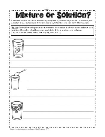 Mixtures and solutions Worksheet Mixture or solution Worksheets