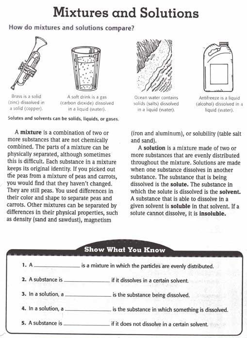 Mixtures and solutions Worksheet solutions and Mixtures Worksheets