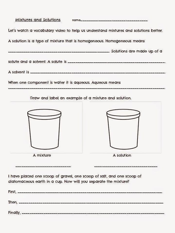 Mixtures and solutions Worksheet solving solutes Vs solvents with Images