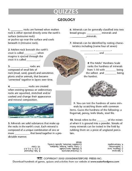 Mohs Hardness Scale Worksheet Geology Quiz Worksheet Lesson Plan for 4th 5th Grade