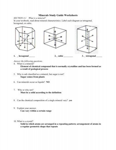 Mohs Hardness Scale Worksheet Minerals Study Guide Worksheets