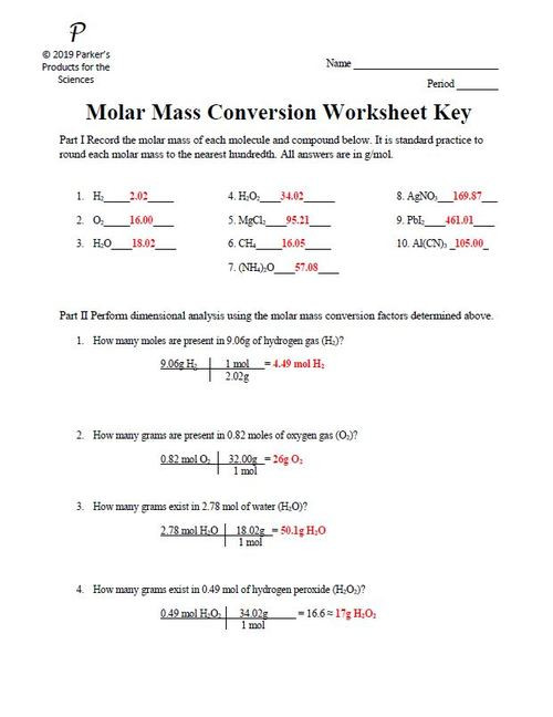 Molar Mass Worksheet Answer Key Calculating Molar Mass Practice Answer Key لم يسبق له Ù…Ø ÙŠÙ""