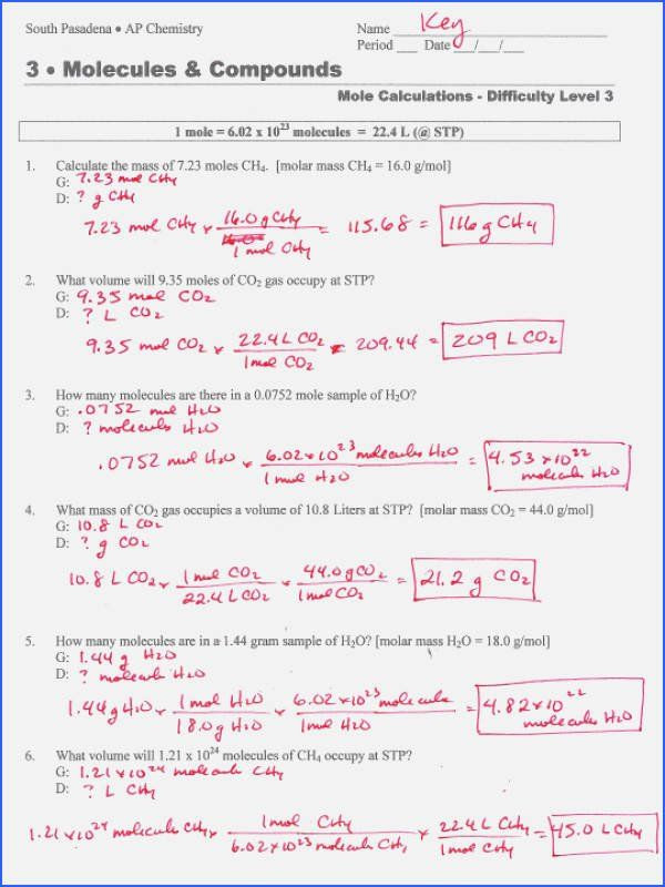Molar Mass Worksheet Answer Key Density Calculations Worksheet Answer Key Luxury Density