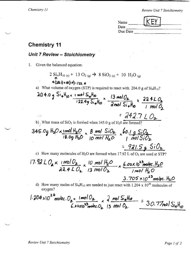 Molarity Worksheet Answer Key Chem 11