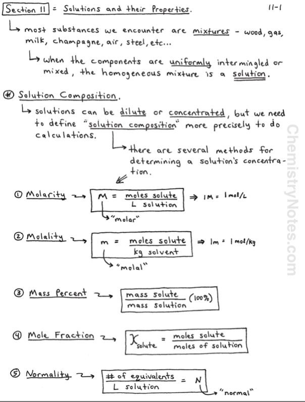 Molarity Worksheet Answer Key Chemistry Notes On solutions Molarity and Molality