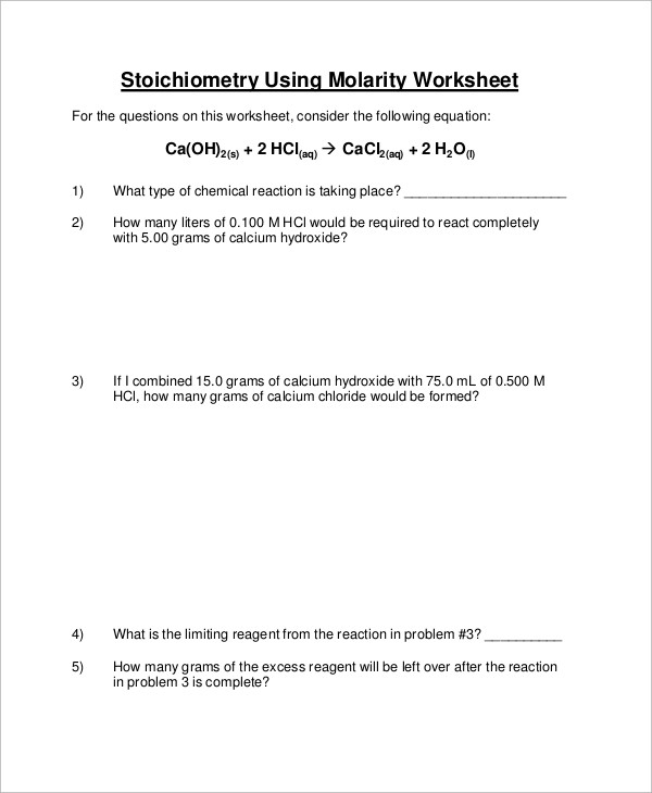 Molarity Worksheet Answer Key Free 9 Sample Stoichiometry Worksheet Templates In Ms Word