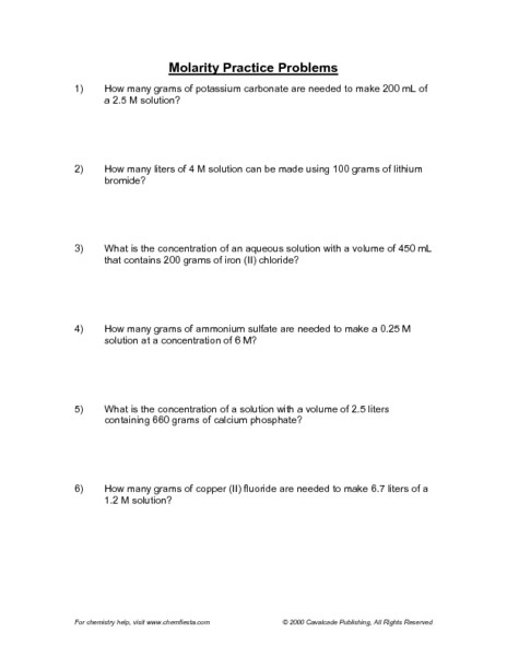 Molarity Worksheet Answer Key Molarity Practice Problems Worksheet for 11th Higher Ed