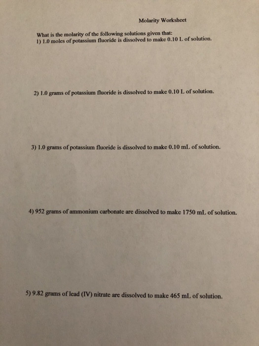 Molarity Worksheet Answer Key solved Molarity Worksheet What is the Molarity the Fol