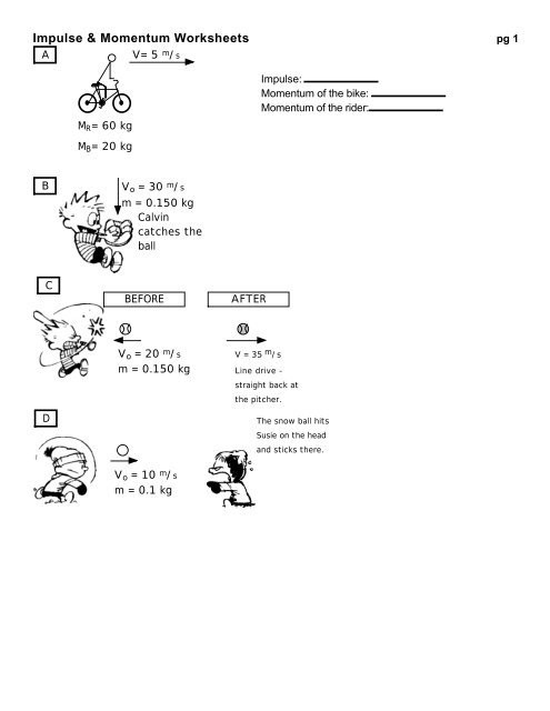 Momentum and Collisions Worksheet Answers Impulse & Momentum Worksheets