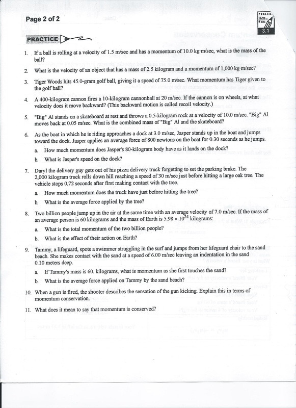 Momentum and Collisions Worksheet Answers Momentum Conservation Practice 3 1 11 8 13