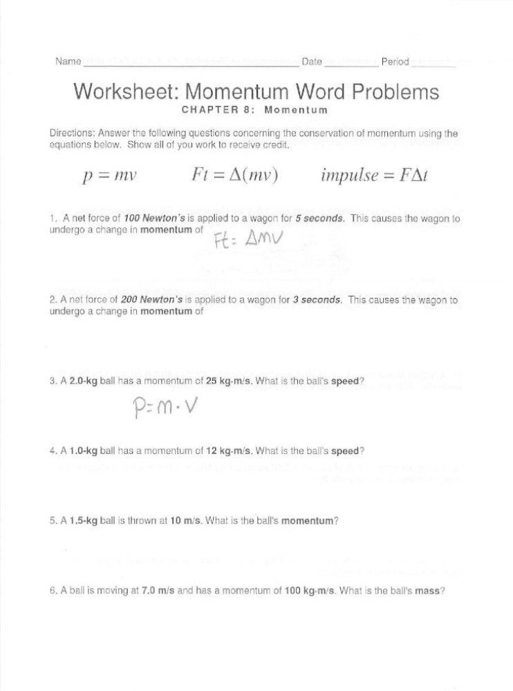 Momentum and Collisions Worksheet Answers Pin On Printable Worksheet Answer Key