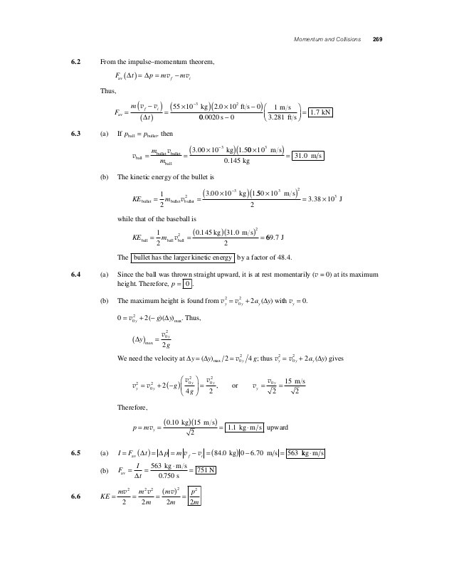 Momentum and Collisions Worksheet Answers solucionario Fundamentos De F­sica 9na Edici³n Capitulo 6