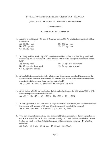 Momentum and Collisions Worksheet Answers Typical Numeric Questions for Physics I Momentum Worksheet