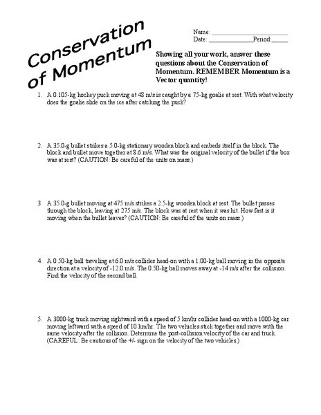 Momentum Worksheet Answer Key Conservation Of Momentum Worksheet for 9th Higher Ed