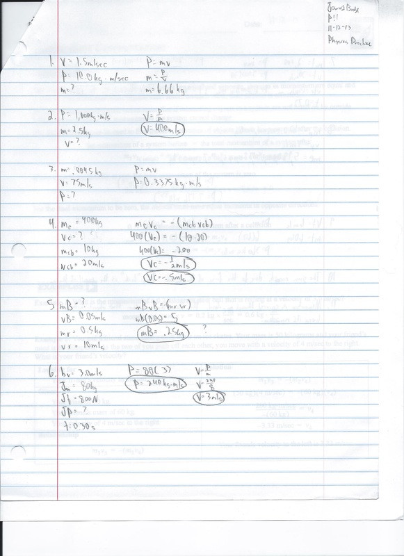 Momentum Worksheet Answer Key Momentum Conservation Practice 3 1 11 8 13