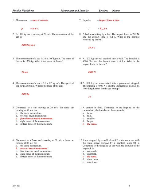 Momentum Worksheet Answer Key Physics Worksheet Momentum Impulse Work and Energy Answers