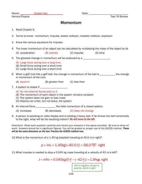 Momentum Worksheet Answer Key Test 6h Review Momentum Key