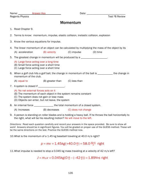 Momentum Worksheet Answer Key Test 8r Review Momentum Key