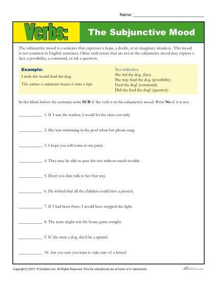 Mood Worksheets for Middle School the Subjunctive Mood Verb Worksheet
