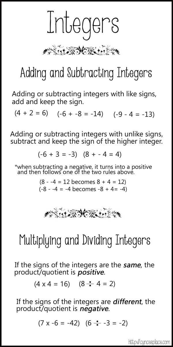 Multiply and Divide Integers Worksheet Free Adding and Subtracting Integers Chart