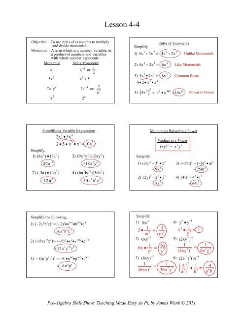 Multiplying and Dividing Monomials Worksheet 4 4 Multiplying and Dividing Monomials Math Slide Show