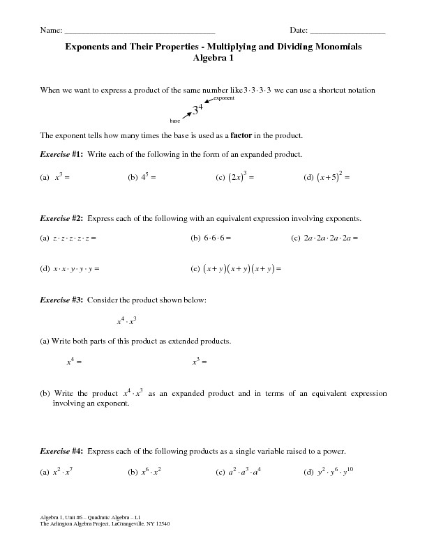 Multiplying and Dividing Monomials Worksheet Exponents and their Properties Multiplying and Dividing