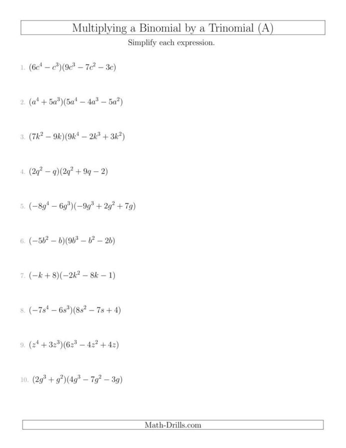 Multiplying and Dividing Monomials Worksheet Grade 10 Math Unit 3 Free Math Worksheets Multiplying