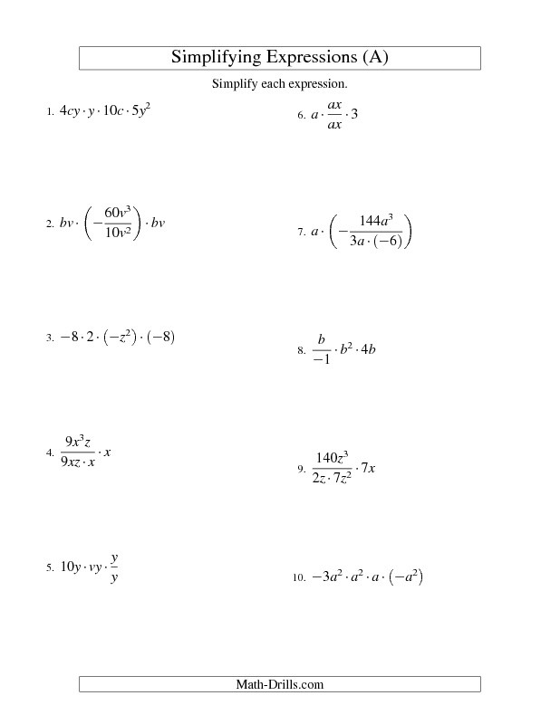 Multiplying and Dividing Monomials Worksheet Lesson 3 Extra Practice Multiply and Divide Monomials Answer Key
