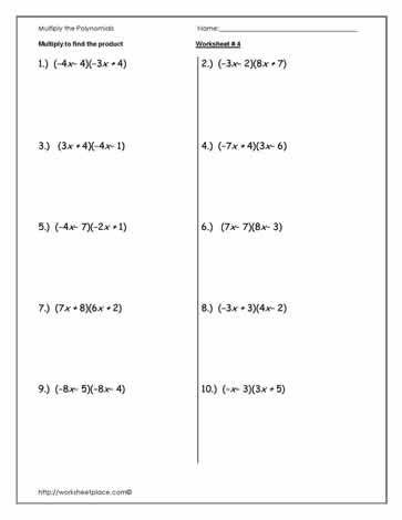 Multiplying and Dividing Monomials Worksheet Multiply Polynomials Worksheet 4