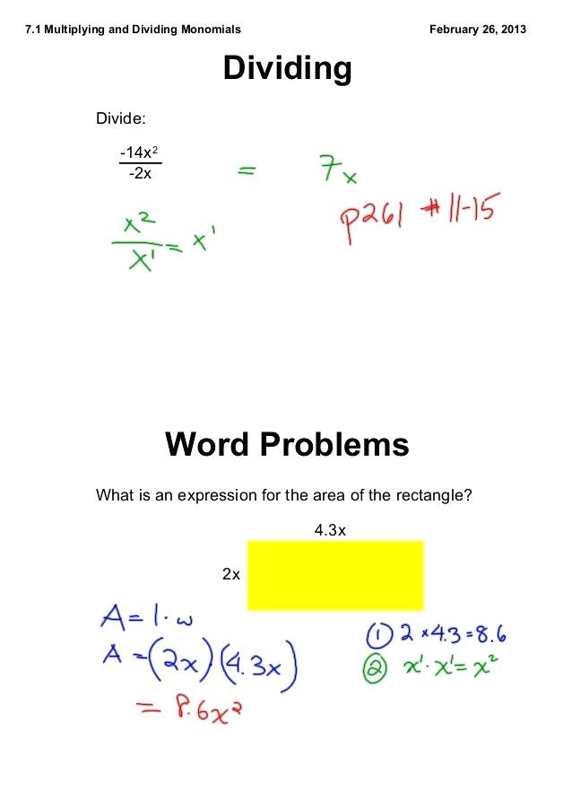 Multiplying and Dividing Monomials Worksheet Multiplying and Dividing Monomials Worksheet with Answers