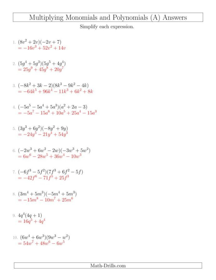 Multiplying and Dividing Monomials Worksheet Multiplying Monomials and Polynomials with Two Factors Mixed