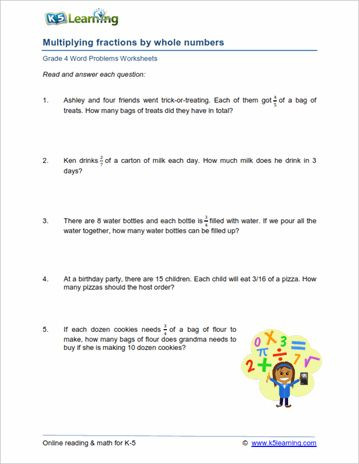 Multiplying Fractions Word Problems Worksheet Word Problems for Class 4